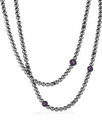 David Yurman | Black Osetra Necklace With Hematine And Amethyst | Lyst