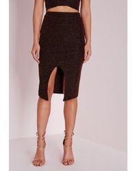 Missguided - Brown Wrap Front Glitter Midi Skirt Bronze - Lyst