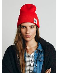 Free People | Red Compass Cuff Beanie | Lyst