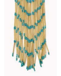 Forever 21 - Blue Gone Boho Fringe Necklace - Lyst