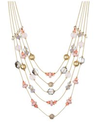 INC International Concepts - Gold-tone Pink Bead Five-row Illusion Necklace - Lyst
