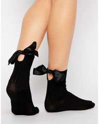 Jonathan Aston - Black Bow Detail Ankle Socks - Lyst