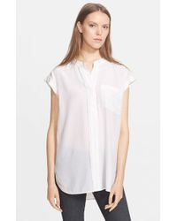 VINCE | White Frayed Placket Short Sleeve Blouse | Lyst