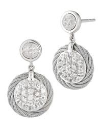 Charriol | Metallic White Sapphire Pave Drop Earrings | Lyst