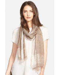 Eileen Fisher - Brown Ikat Print Silk & Organic Cotton Scarf - Lyst