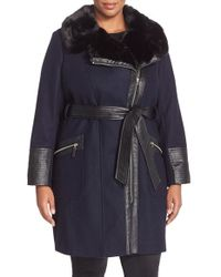 Via Spiga | Black Asymmetrical Wool Blend Coat With Faux Fur Collar | Lyst