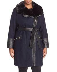 Via Spiga | Black Asymmetrical Wool Blend Coat With Faux Fur Collar | Lyst