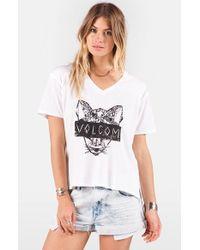 Volcom - White Graphic V-neck Tee - Lyst
