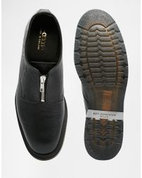 ASOS | Black Zip Shoes In Leather With Snakeskin Effect Made In England for Men | Lyst