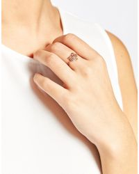 KENZO - Pink Rose Gold Plated Mini Tiger Ring - Lyst