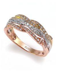 Effy   Metallic Trio 14kt Yellow Rose And White Gold Diamond Ring   Lyst