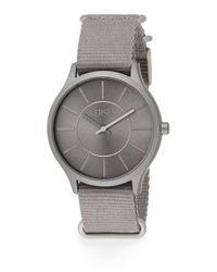 Versus - Gray Less Aluminum Grey Woven Strap Watch - Lyst
