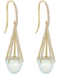 Finn | Metallic Diamond, Chalcedony & Gold Cage Earrings | Lyst