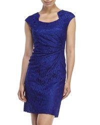 Tahari - Royal Blue Lace Sheath Dress - Lyst