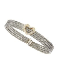 Alor - Gray Diamond-heart-station Four-row Cable Bangle - Lyst