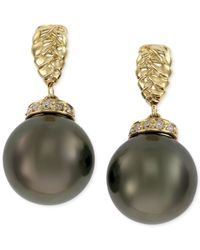 Effy Collection - Metallic Effy Tahitian Pearl (10 Mm) And Diamond Accent Earrings In 14k Gold - Lyst