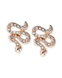 RACHEL Rachel Roy - Metallic Goldtone Crystal Snake Stud Earrings - Lyst