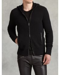 John Varvatos | Black Cashmere Zip Front Hoodie for Men | Lyst