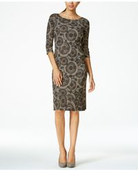 Nine West | Brown Lace Sheath Dress | Lyst