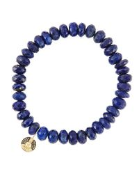 Sydney Evan | Blue 8Mm Faceted Lapis Beaded Bracelet With 14K Gold/Diamond Small Buddha Charm (Made To Order) | Lyst