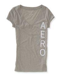 Aéropostale | Gray Vertical Sparkle Aero V-neck Graphic T | Lyst