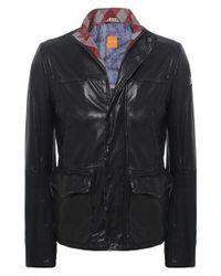 BOSS Orange Black Jerian Leather Jacket for men