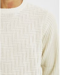 Bellfield - White Geysir Textured Jumper Cream for Men - Lyst