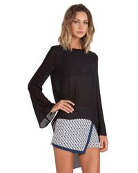 Blaque Label - Black Sheer Long Sleeve Top - Lyst
