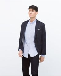 Zara | Blue Single Button Blazer for Men | Lyst