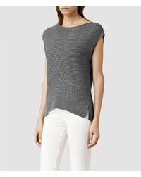 AllSaints - Metallic Melo Knit Top - Lyst