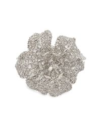 Alexander McQueen - Metallic Silver Tone Crystal Embellished Lily Cuff - Lyst