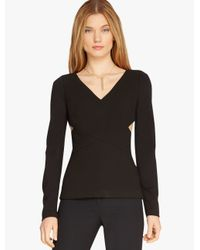 Halston | Black Structured Knit Top With Cut Outs | Lyst