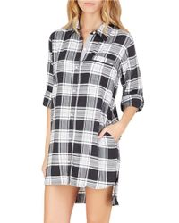 DKNY | Black Plus Plaid Boyfriend Sleepshirt | Lyst