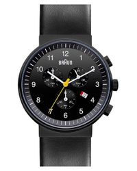 Braun | Black 'classic' Chronograph Leather Strap Watch for Men | Lyst