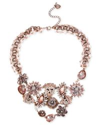 Betsey Johnson | Pink Patina Skull And Flower Frontal Necklace | Lyst