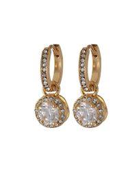 Betsey Johnson - Metallic Cz Crystal Small Hoop Circle Drop Earrings - Lyst
