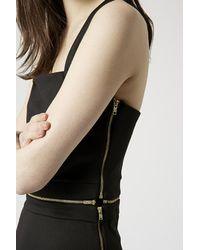 TOPSHOP | Black Zip Detail Bodycon Dress | Lyst