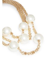 Kenneth Jay Lane - White Three Strand Glass Pearl Opera Necklace - Lyst