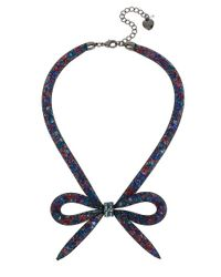 Betsey Johnson | Blue Mesh Bow Frontal Necklace | Lyst