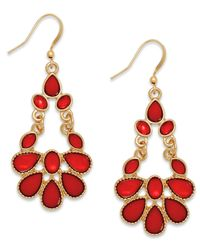 INC International Concepts | Gold-tone Red Stone Chandelier Earrings | Lyst