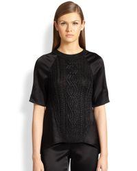 St. John - Black Metallic Knit & Liquid Satin Sweater - Lyst