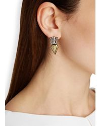 Iosselliani - Metallic Gold-plated Fringed Swarovski Earrings - Lyst