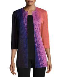 Misook - Multicolor Colorful 3/4-sleeve Long Jacket - Lyst