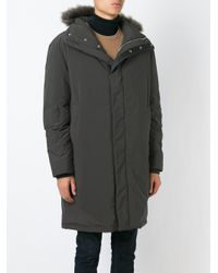 Paul Smith - Gray Shearling Trim Hooded Parka for Men - Lyst