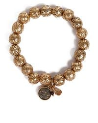 Lucky Brand - Metallic Goldtone Beaded Stretch Bracelet - Lyst