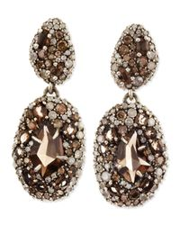 Alexis Bittar - Brown Smoky Gold Marquise 2drop Earrings Pave Diamonds Smoky Quartz - Lyst