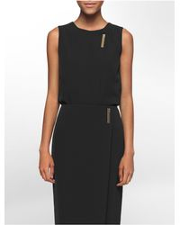 Calvin Klein - Black Logo Bar Plaque Sleeveless Top - Lyst