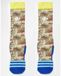 Adidas | Green Originals Camo Crew Socks for Men | Lyst