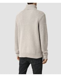 AllSaints - Gray Karser Funnel Neck Sweater for Men - Lyst
