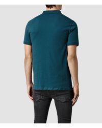 AllSaints | Blue Alter Polo for Men | Lyst